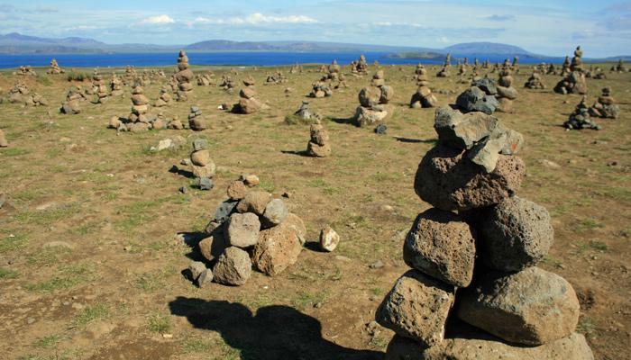 Steinfiguren sind in Island Glücksbringer.