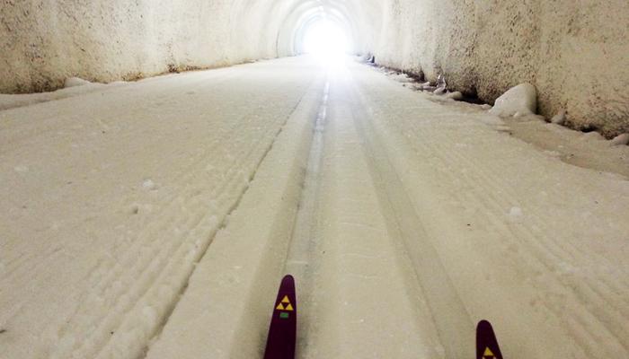 Langlauf-Tunnel auf der Verwallloipe