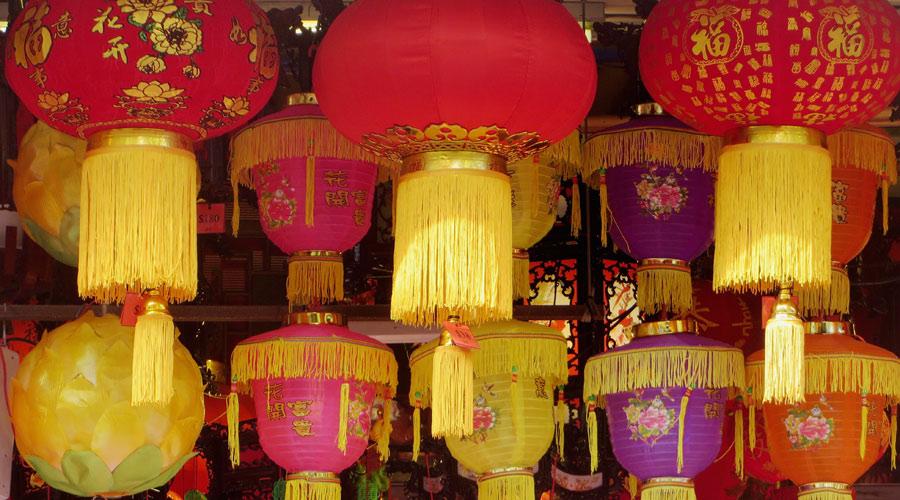 Lampions beim Chinesischen Neujahrsfest in Singapur
