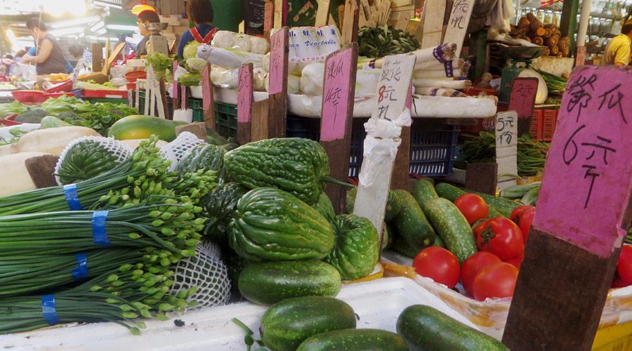 Gemüsestand am Markt in Hongkong