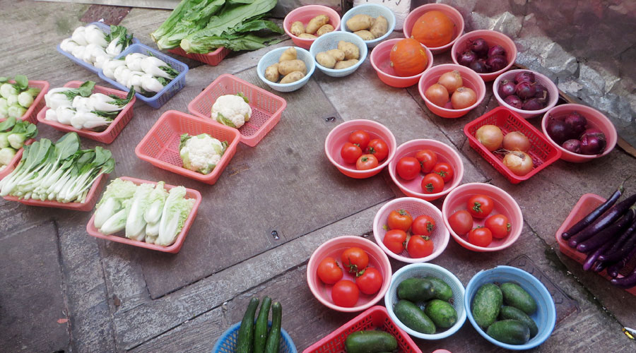 Gemüse am Straßenmarkt in Hongkong