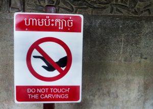 Hinweisschild in Angkor Wat