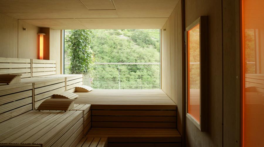 Sauna mit Blick auf die Weinreben
