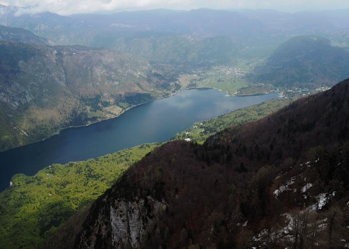 Bohinj See in Slowenien von oben
