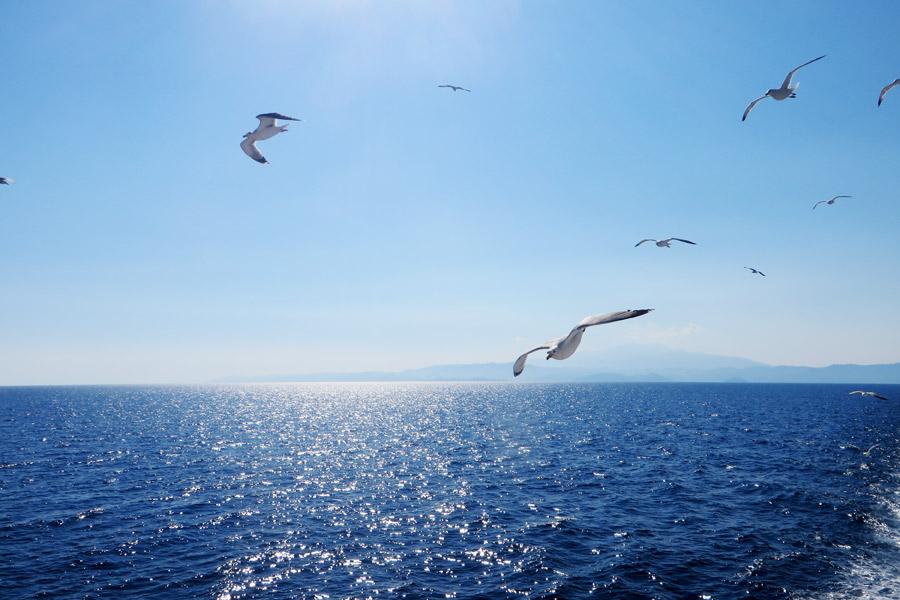 Windiges Wetter: Auf der Fähre nach Thassos, Insel in Griechenland.
