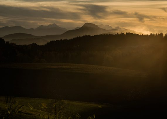 Sonnenuntergang über Mittelkärnten
