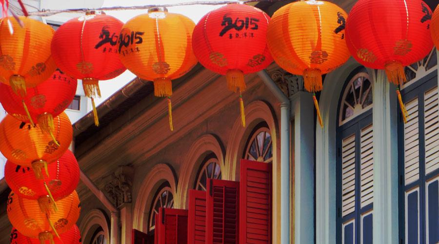 Festliche Lampions zum Chinesischen Neujahr