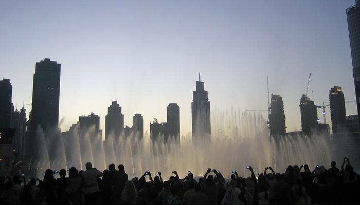 Wasserfontänen in der Dubai Mall