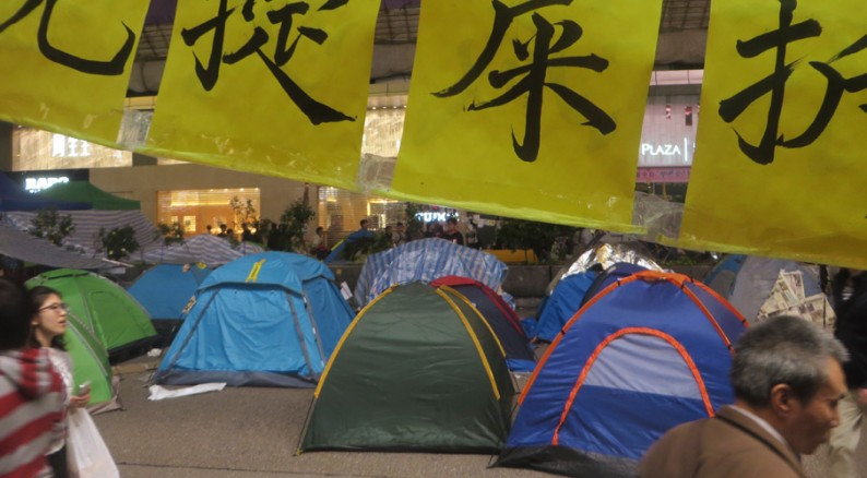 Zeltlager der Demonstranten in Hongkong
