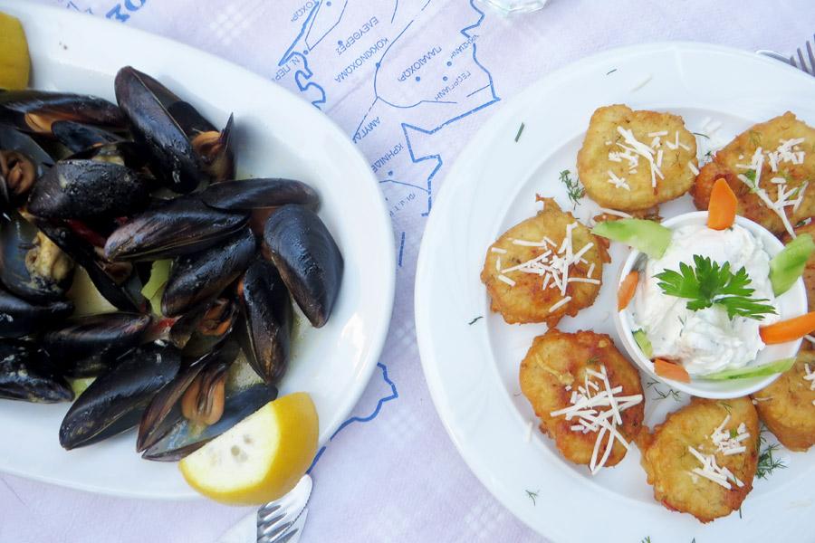 Essen auf der Insel Thassos in Griechenland