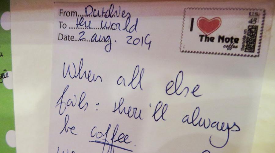 Botschaft im the Note Coffee in Hanoi