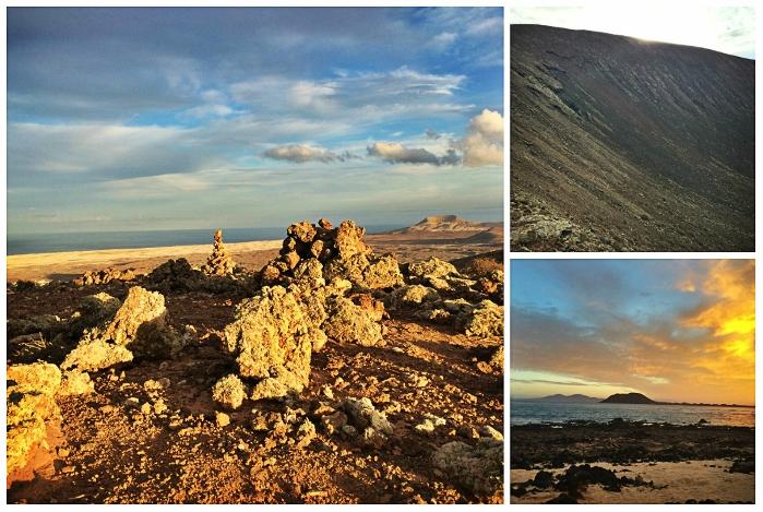 Vom Kraterrand des Vulkans Calderon Hondo aus blickt man auf die Mondlandschaft und auf die unbewohnte Insel Lobos.